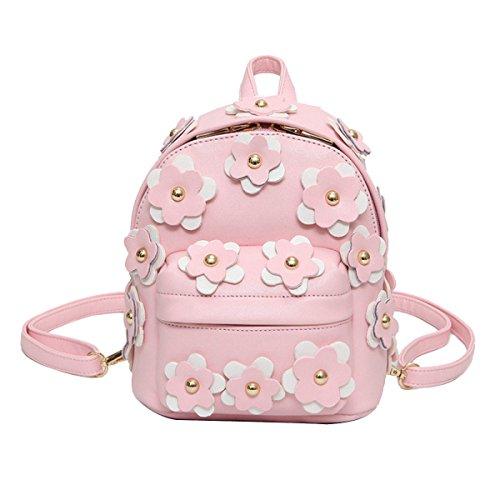épaule Collège Rivets Garniture Fleur De La Mode Voyage Sac à Dos Rucksack Pour Les Femmes Multicolor,Pink-OneSize