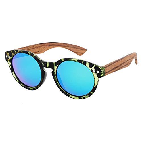 DAIYSNAFDN Bambus Sonnenbrille Frauen Handgefertigte Holz Sonnenbrille Polarisierte Vintage Sonnenbrille Runde Rahmen C1