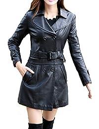 Helan Femmes Longue de moto en cuir PU Sport Veste Manteau de cuir