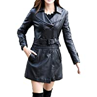 Helan Donna Lungo Sport in pelle cappotto del rivestimento di cuoio del motociclo