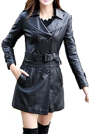 Helan Donna Lungo Sport in pelle cappotto del rivestimento di cuoio del motociclo Nero EU 34