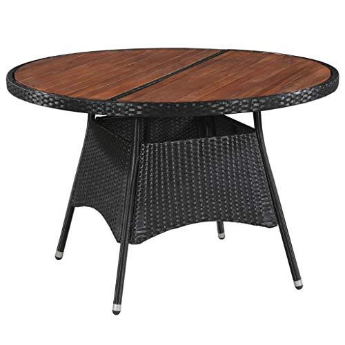 Festnight- Table Jardin Ronde Table Jardin Resine Tressee Table de Manger d'Extérieur Marron et Noir 115 x 74 cm