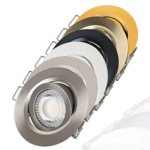 Foco LED empotrable orientable, plano, 3000 K, blanco cálido, 230 V, regulable,...