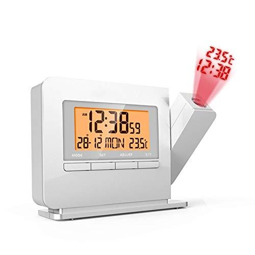 Unbekannt 8°KL Wecker Digitaluhr Vintage Projektionswecker Digital LED Thermometer Kalender Timer Display Mit Hintergrundbeleuchtung Schlummerfunktion Kunststoff Tischuhr #721821