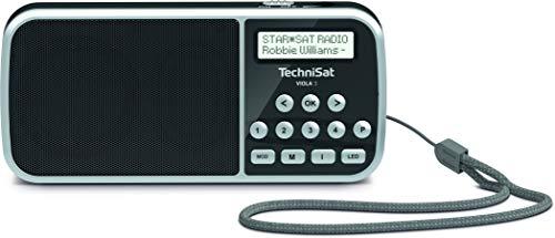 TechniSat Viola 3 kleines und tragbares DAB Radio (DAB+, UKW, Lautsprecher, Display, Kopfhöreranschluss, USB, Aux-In, LED Taschenlampe, 1 Watt RMS) schwarz