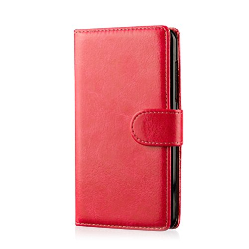32nd PU Leder Mappen Hülle Flip Case Cover für BlackBerry Classic, Ledertasche hüllen mit Magnetverschluss & Kartensteckplatz - Rot