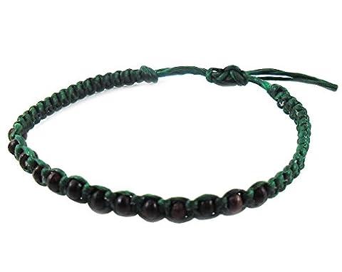 Artisan Asiatique Bracelet Fait Main 100% Vert Cire Corde Noir Perles de Bois