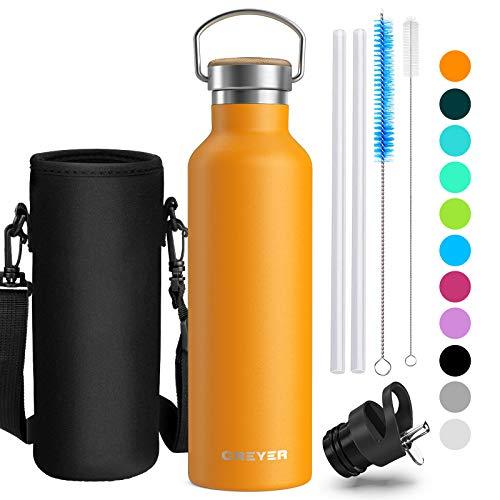 Creyer doppia bottiglia per vuoto in acciaio inossidabile, 500ml or 750ml, privo di bpa, riutilizzabile borraccia sportiva, perfetto per campeggio di esterni escursionismo escursioni in bicicletta