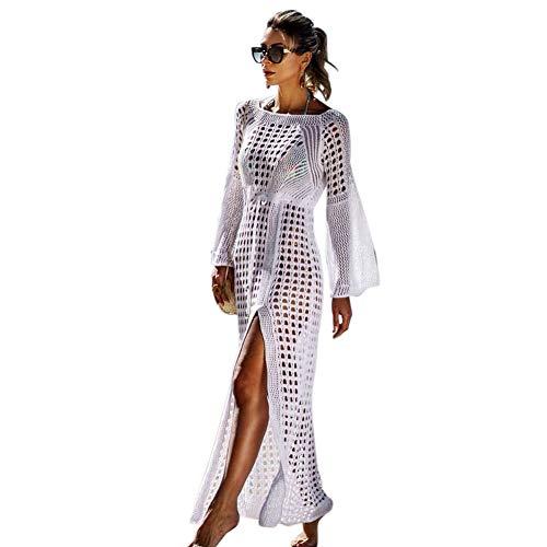 Tacobear Sexy Robe de Plage Femme Eté Sarong Maillots de Bain Tricot Longue Cache-Maillots Bikini Cover Up Couvrir Robe Maillot de Bain pour Femmes (Blanc)