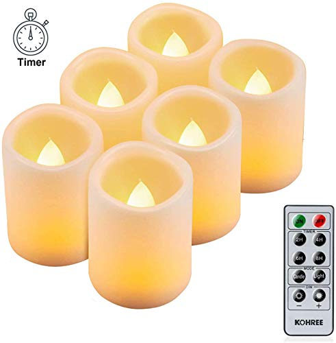 LED Kerzen, Kohree 6 Flammenlose LED Teelichter mit Timer Fernbedienung, Batteriebetriebene Kerze flackernde flamme, Elektrische Teelichter mit Timerfunktion für Weihnachtsdeko, Hochzeit, Geburtstags
