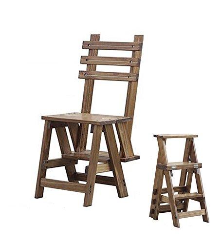 LIXIONG Chaise Pliante Échelles Multifonctions Usage Double Échelle en Trois étapes Bois de pin Couleur Noyer tabourets de bibliothèque