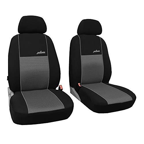 Vordersitze 1+1 Grau Sitzbezüge Sitzbezug für Auto Sitzschoner PKW LKW Set Schonbezüge Autositz Autositzbezüge Sitzauflagen Sitzschutz Transporter Gallante VIP ()