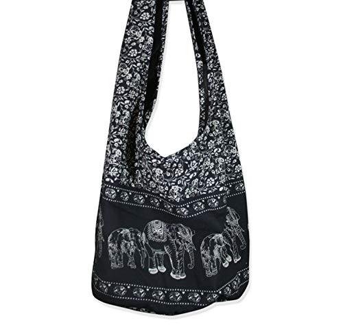 S11 Handtasche mit Hippie-Elefanten-Motiv, thailändischer Reißverschluss, handgefertigt, Schwarz -
