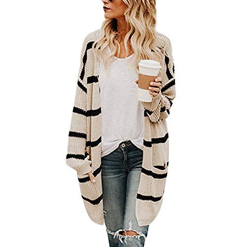 Petalum Damen Strickjacke Herbst Winter Elegant Lang Warm Streifen Strickmantel Lose Oversize Langarmarm V Ausschnitt Kimono Feinstrick Outerwear mit Seitentaschen