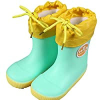 DGdolph Thick Rain Boots For Children Kids Infant Baby Rainboots Cartoon Rain Shoes 18# Frog New Plus Velvet Green