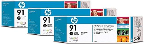 Preisvergleich Produktbild HP 91 3er-Pack Fotoschwarz Tintenpatronen, 775 ml