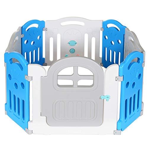 LCP Kids Baby Laufstall Kinder Laufgitter - viele Aufbauvarianten - Türschloss aussen - Mehrfarbig