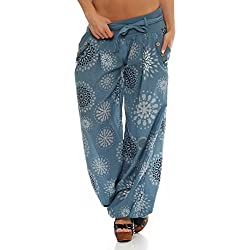 malito Harem Pantalón con veraniego Print Boyfriend Aladin Bombacho Sudadera Baggy Yoga 3481 Mujer Talla Única (azul claro)