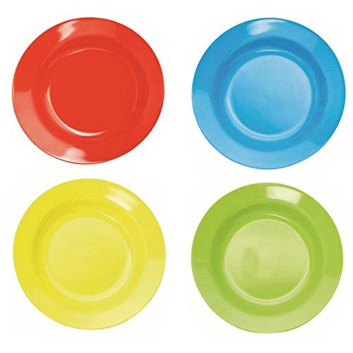 farbige teller 4 Kunststoff-Teller, tief, 20 cm, aus Melamin, 4 farbig sort. (rot, grün, blau, gelb)