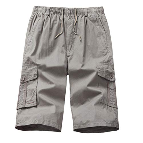 Silber Baggy Shorts (Männer Sommer Mode Baumwolle Casual Gargo Hosen gewaschene wadenlangen HosenHosen Short Jogginghosen Freizeithosen Strumpfhosen Silber XXXXL)
