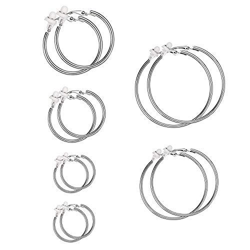 6 Paare Silber Hoop Ohrringe, Clips on Ohrringe Set mit nicht Piercing, 6 Größen Hoop Ohrclips mit Latexkissen für Damen Mädchen