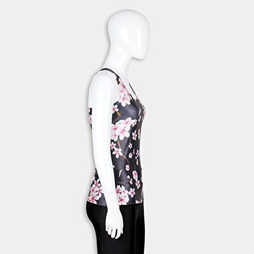 THENICE Damen Reizvolle dünne Muskelshirt ärmellos T-Shirt Weste Plum flower