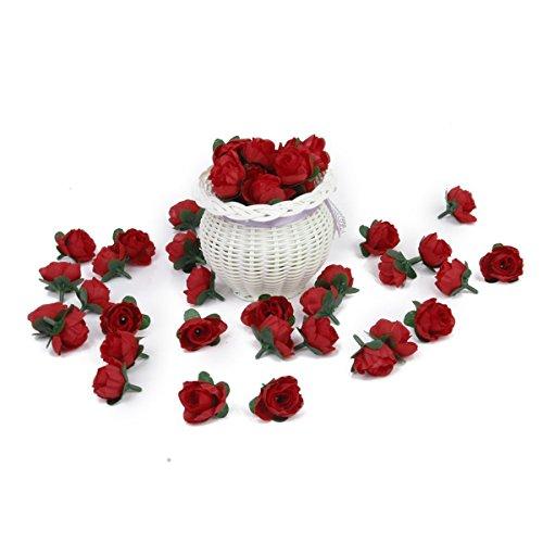 ROSENICE Rote Rosen Künstliche Blume Rosen Blumen Kunstrose Rosenköpfe Hochzeit Party Dekoration (Rot) – 50 Stücke