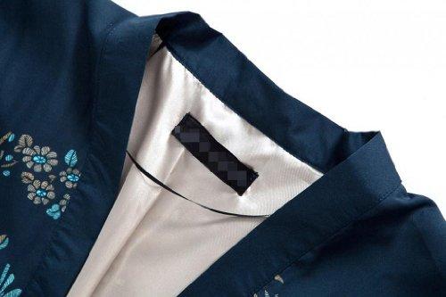 VOBAGA Femmes Été Impression Floral Mousseline de Cardigan kimono Châle Blouse Tops Outwear Bleu Marine