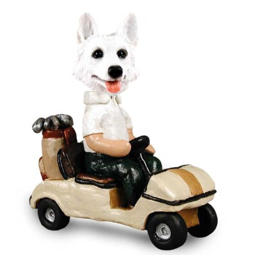 German Shepherd White Golf Cart Doogie Collectable Figurine by CON -