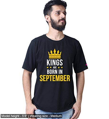 Graphic Printed T-Shirt for Men | Kings are Born in August and September T-Shirt | Birthday T-Shirt | King T-Shirt | Half Sleeve T-Shirt | Round Neck T Shirt | 100% Cotton T-Shirt