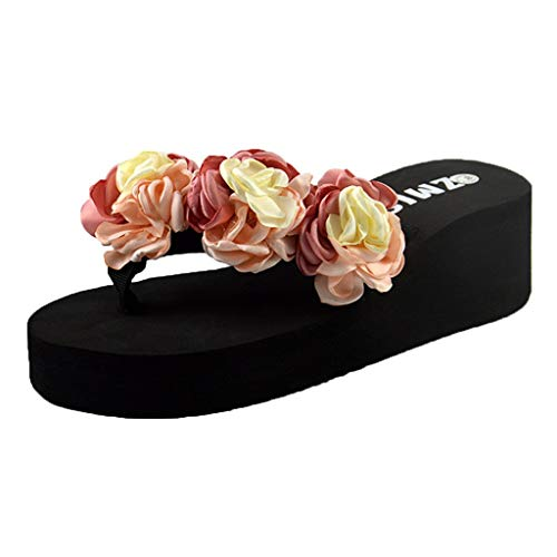 Xmiral Slippers Sandals Women Muffin Flat Bottom Thongs Flip Flops Solid Flower Decorate Beach Home Bathroom Shoes(5 UK,Pink-5.5cm) Dreams Thong Sandal