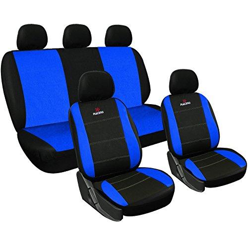 WOLTU AS7315 Set Completo di Coprisedili Auto Seat Cover Macchina Universali Protezione per Sedile di Poliestere Classici Nero-Blu
