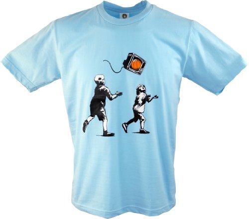Guru-Shop Fun T-Shirt `Basket TV`, Herren, Blau, Baumwolle, Size:L, Rundhals Kurzarm Shirt Alternative Bekleidung (Shop-tv)