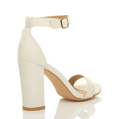 Femmes haute large talon chaussures bout ouvert sandales à lanières pointure Blanc mat