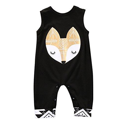 Bekleidung Longra Säugling Baby Jungen Kleidung Denim Romper Strampler Jumpsuits Kurzarm Reißverschluss Overall Outfits(0 -24 Monate), Schwarz, 70CM 9Monate