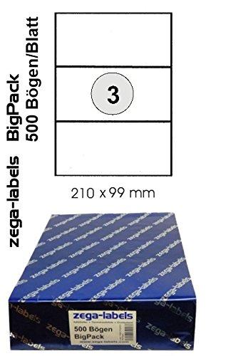 1.500 Etiketten 210 x 99 mm selbstklebend auf DIN A4 Bögen (1x3 Etiketten) - 500 Blatt Bigpack - Universell für Laser/Inkjet/Kopierer einsetzbar -