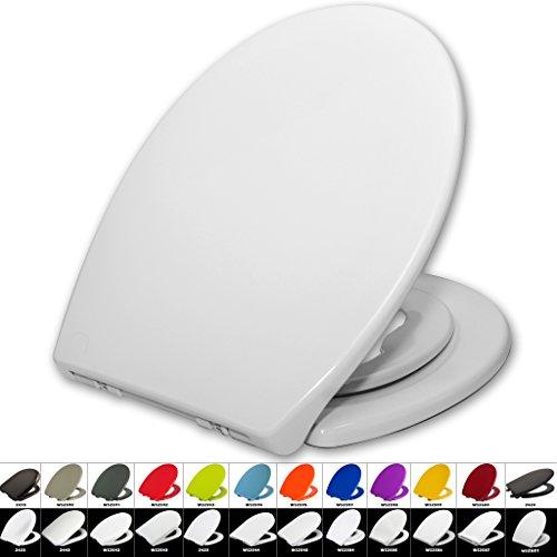 Preisvergleich Produktbild Toilettensitz WC-Sitz mit Absenkautomatik, #22, Kunststoff, Fix-Clip, Mit integriertem Kindersitz Softclose, Antibakteriell, (WS2601 Weiß)