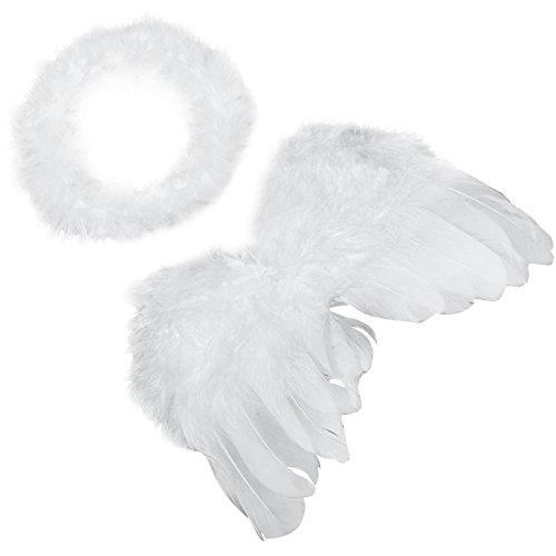 Mangotree Unisex Baby Foto Prop Outfit Cupid Engel Feder Flügel Kostüm mit Stirnband (40*25cm, (Für Kostüme Kind Cupid)