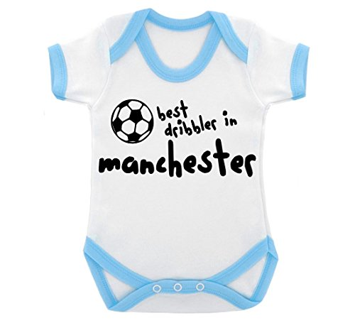 Funny Best Schleimer in Manchester Design Baby Body mit Licht blau Kontrast Trim und schwarz print Gr. 6-12 Monate, blau Manchester Trim