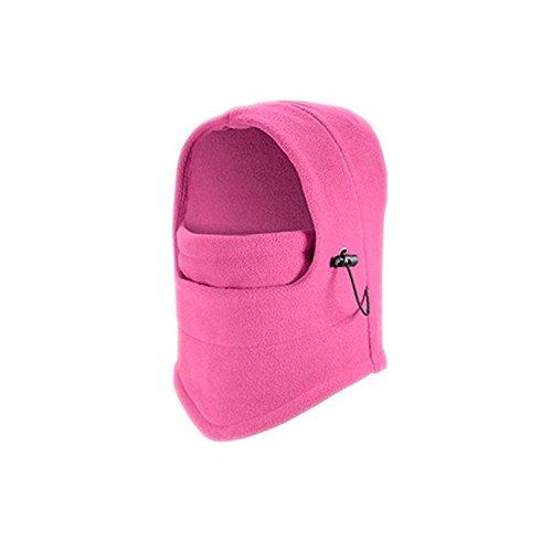 Col Réglable d'hiver chaude bouchon Housse coupe-vent anti-poussière Masque de ski Bonnet pour adulte Protection Masque complet Rose