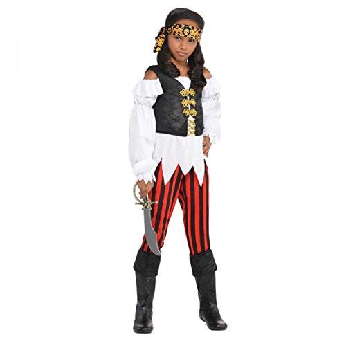 Hübsche Schurke Piraten Mädchen Kostüm Karibik Bucaneer Kinder Kinder Kostüm - Hübsche Schurke, 116-128 (Bucaneer Pirat)