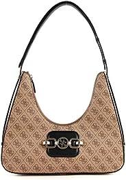 Guess Hensely Hobo Bag For Women, Latte Multi