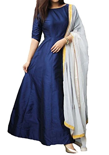Janvi Sales women's tapeta silk gown salwar suit for women(blue_tapeta_free size)