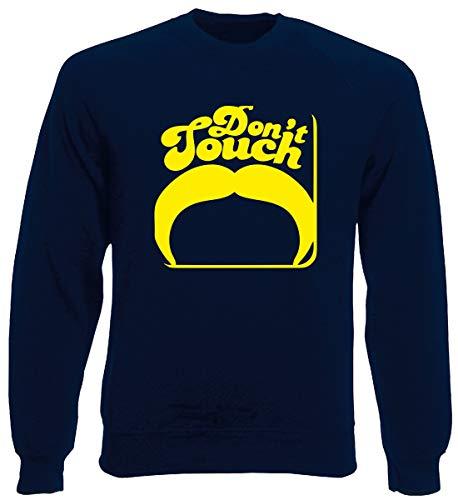 Rundhals-Sweatshirt fur Mann Blau Navy FUN1256 Dont Touch Mustache Square Coaster Navy Coaster