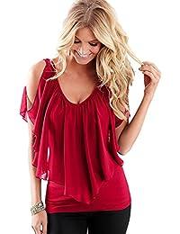 Tops de Mujer Verano Chifón Camisetas Blusa Suelta con Cuello en V Fuera del Hombro Camisetas