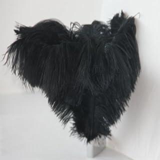 Lotmusic Lot de 10 plumes d'autruche véritables pour décoration de mariage Noir 30-35cm