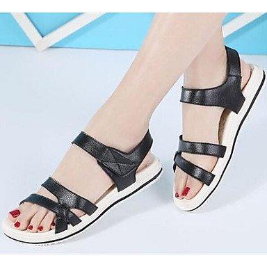 Sandales Pour Femmes Rtry Confort Vachette Été Casual Blanc Noir Plat Us8 / Eu39 / Uk6 / Cn39