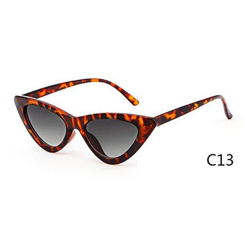 ZRTYJ Sonnenbrille Frauen Cat Eye Sonnenbrille Uv400 Kleine Schmale Linse Vintage Schildpatt Rahmen Cateye Sonnenbrille Retro Shades