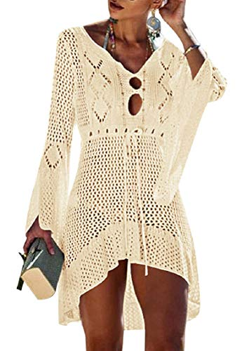 Tuopuda Bikini Cover Up Crochet Damen Strandkleid aushöhlen Stricken Swimsuit Sommerkleid mit V-Ausschnitt Strandrock Bell Sleeve Strandponcho Sommer Beachwear Bademode Strand Badeanzug (Damen Crochet)
