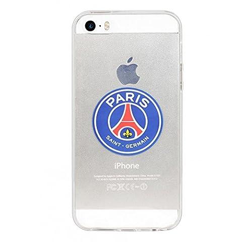 Coque souple transparente officielle PSG avec logo couleur iPhone SE et 5s